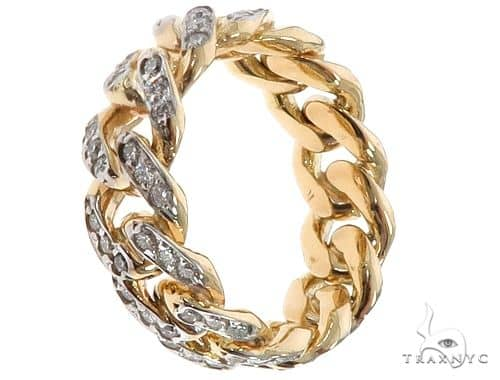 14k Yellow Gold Diamond Miami Cuban Ring 64737