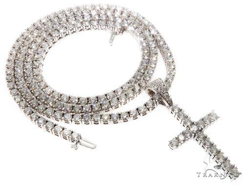 Custom Prong Diamond Cross Tennis Chain Set 64741 ダイヤモンド チェーン