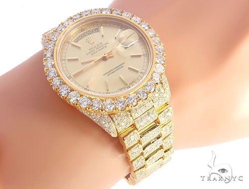 17 36mm Presidential 50 Round Gold 18k Yellow Diamond Rolex Iced 65021 Cut Mens Out Collection Watch Ct Fully