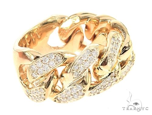 14K Yellow Gold 12mm 2 Row Diamond Miami Cuban Ring 65029 Stone