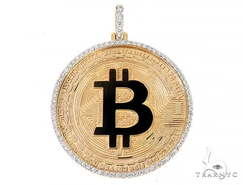 14K Yellow Gold 1.5 Inch Bitcoin Pendant 65124 Metal