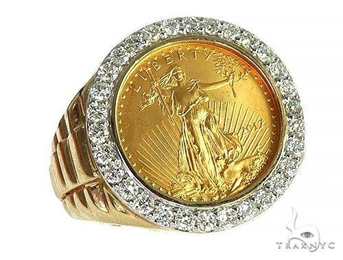 Mens Diamond Lady Liberty Coin Ring Stone