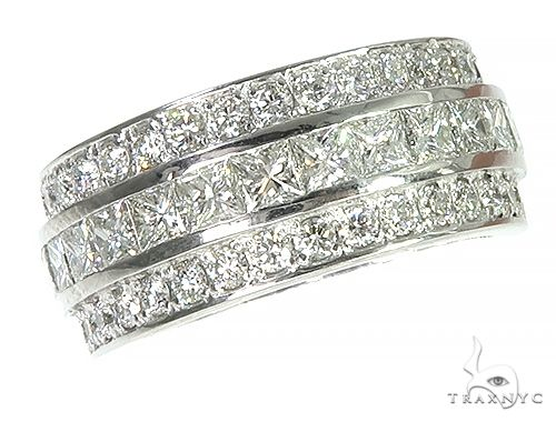 14K Gold Three Row Diamond Ring 66259 Engagement