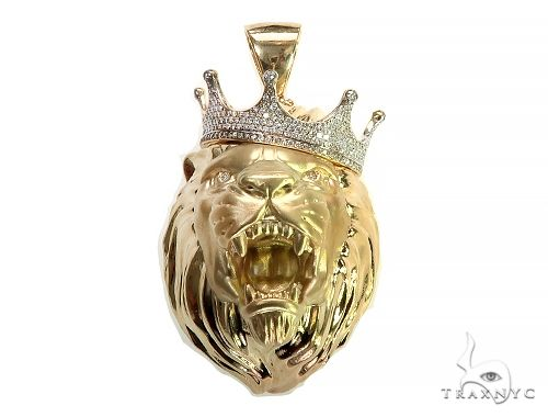 Large Diamond Crown Lion Head Pendant 66264 Metal