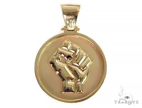 Custom Made Solid Gold People Power Pendant 66308