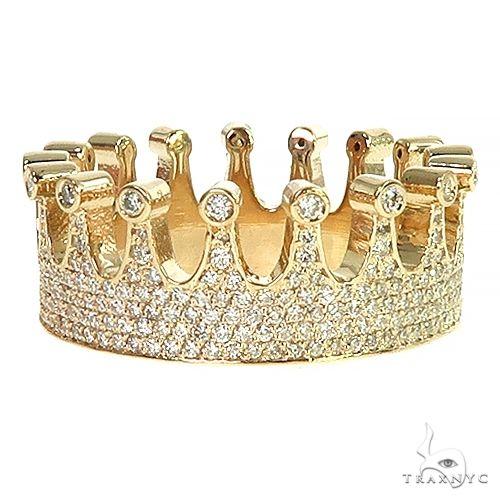 14k Gold Custom Made Crown Diamond Ring 66454