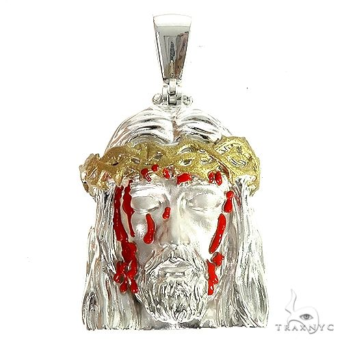 .925 Silver Blood Dripping Jesus Face Pendant 66483 Metal