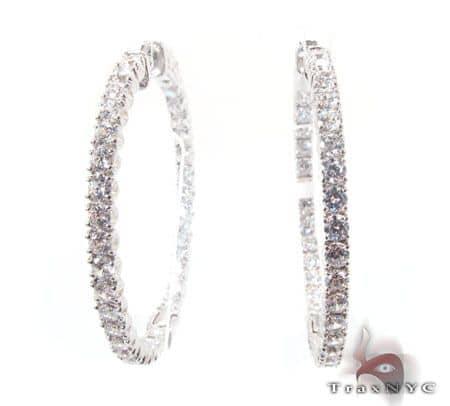Sterling Silver Hoop Earrings with nice CZ Cubic Zirconia Metal