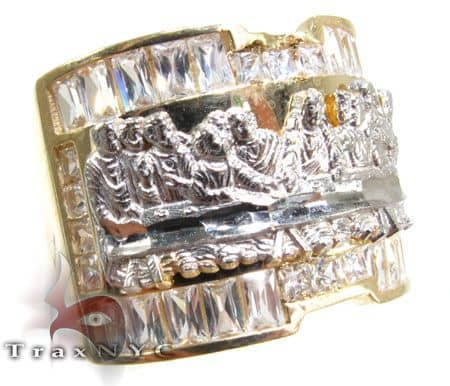 Mens CZ Last Supper Ring 4 Metal