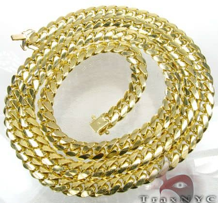 10k Solid Yellow Gold Miami Chain 5mm 24 Inches Gold