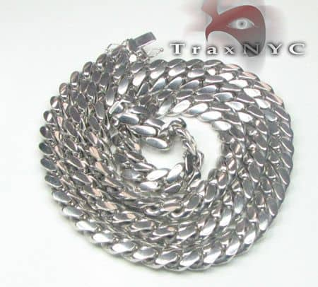 10k Solid White Gold Miami Chain 36 Inches 12mm Gold
