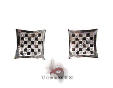 Black & White Checkered Earrings Stone