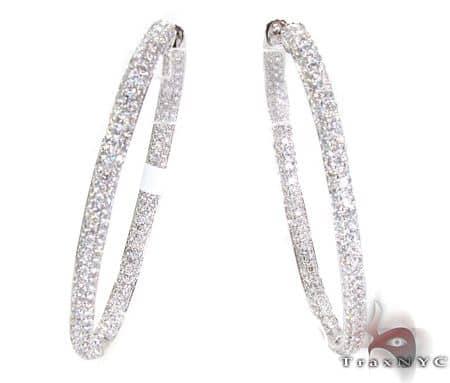 WG Iced Oval Hoop Earrings Stone