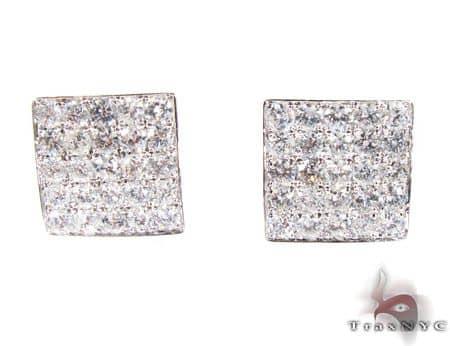 WG Five Row Spec Earrings Stone