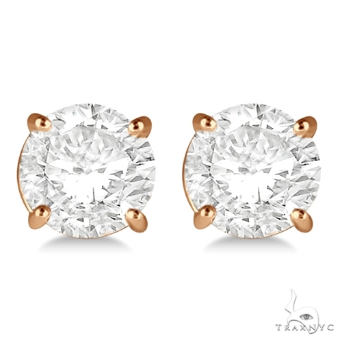 4.00ct. 4-Prong Basket Diamond Stud Earrings 18kt Rose Gold G-H, VS2-SI1 Stone