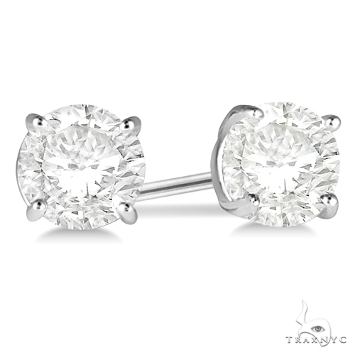 4.00ct. 4-Prong Basket Diamond Stud Earrings Platinum G-H, VS2-SI1 Stone