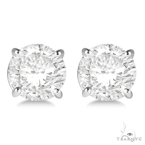 4.00ct. 4-Prong Basket Diamond Stud Earrings Platinum G-H, VS2-SI1 Stone
