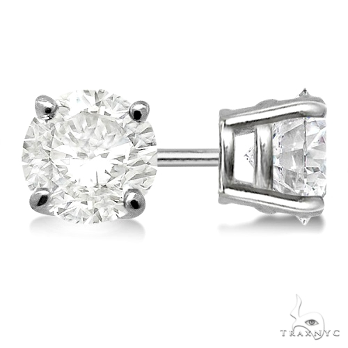 4.00ct. 4-Prong Basket Diamond Stud Earrings 14kt White Gold H, SI1-SI2 Stone