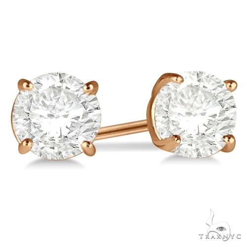 4.00ct. 4-Prong Basket Diamond Stud Earrings 14kt Rose Gold H, SI1-SI2 Stone