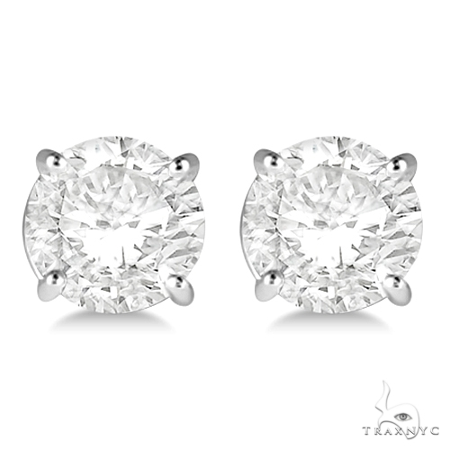 4.00ct. 4-Prong Basket Diamond Stud Earrings 18kt White Gold H, SI1-SI2 Stone