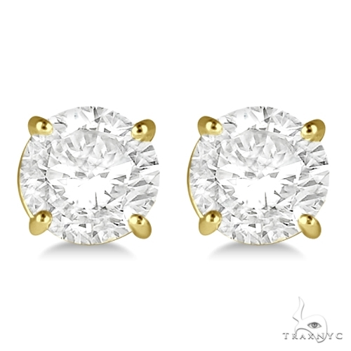 4.00ct. 4-Prong Basket Diamond Stud Earrings 18kt Yellow Gold H, SI1-SI2 Stone