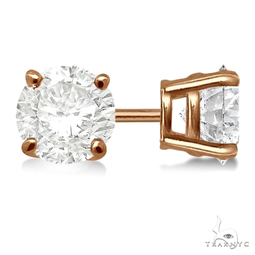 4.00ct. 4-Prong Basket Diamond Stud Earrings 18kt Rose Gold H, SI1-SI2 Stone