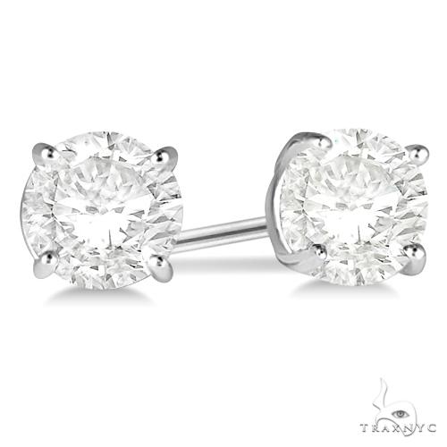 4.00ct. 4-Prong Basket Diamond Stud Earrings Palladium H, SI1-SI2 Stone