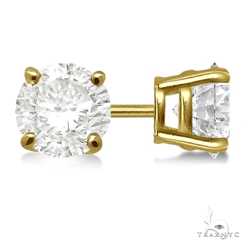 4.00ct. 4-Prong Basket Diamond Stud Earrings 18kt Yellow Gold H-I, SI2-SI3 Stone