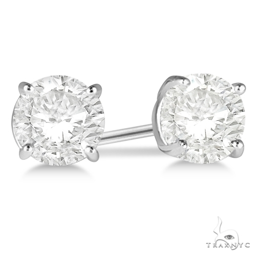 4.00ct. 4-Prong Basket Diamond Stud Earrings Platinum H-I, SI2-SI3 Stone