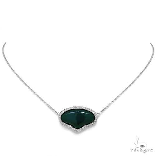 Diamond and 11.75ct Green Agate 14k White Gold Necklace Gemstone