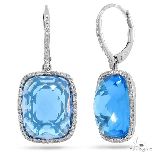Diamond and 16.83ct Blue Topaz 14k White Gold Earrings Stone
