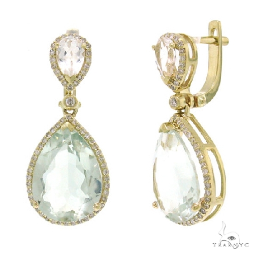 Diamond and 9.13ct Green Amethyst 14k Yellow Gold Earrings Stone