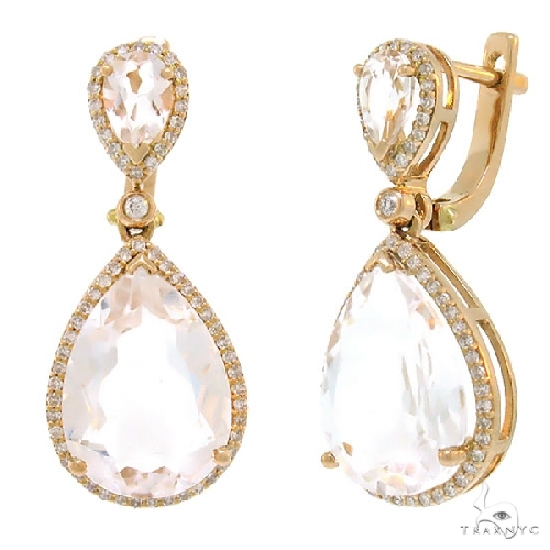 Diamond and 9.27ct White Topaz 14k Rose Gold Earrings Stone