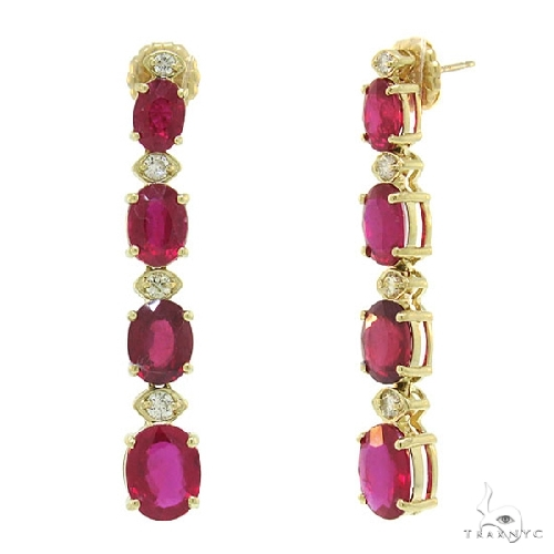 Diamond and 13.03ct Glass Filled Ruby 14k Yellow Gold Earrings Stone