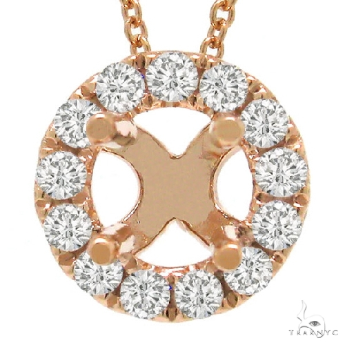 14k Rose Gold Diamond Semi-mount Pendant Necklace Style