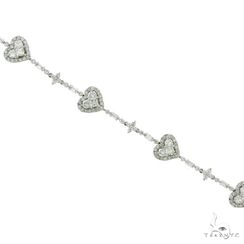 18k White Gold Diamond Fancy Heart Bracelet Diamond