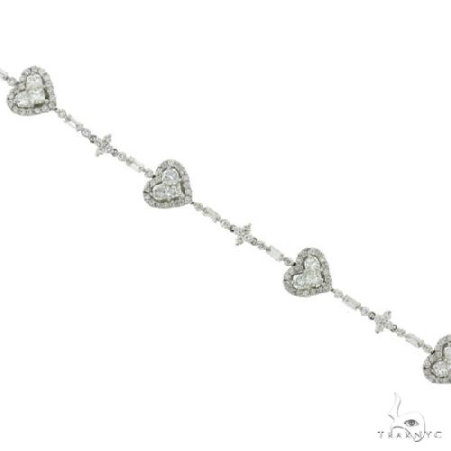 18k White Gold Diamond Fancy Heart Bracelet Diamond