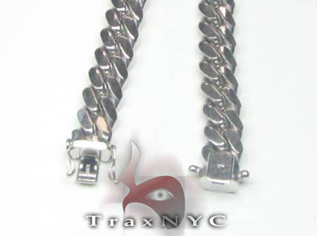 10k Solid White Gold Miami Chain 40 Inches 12mm Gold