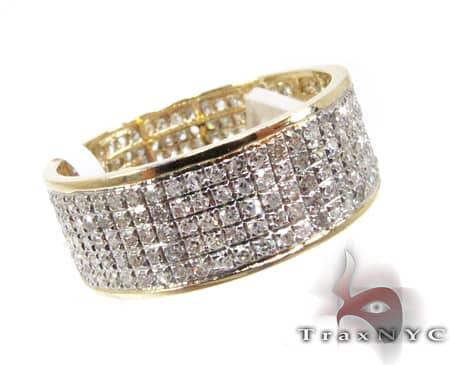 YG 5 Row Diamond Ring Wedding