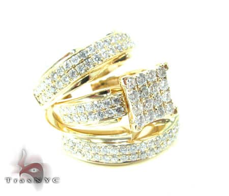 His And Hers Wedding Ring Sets.Beverly His Hers Wedding Set 4 Ladies Engagement Yellow Gold 14k