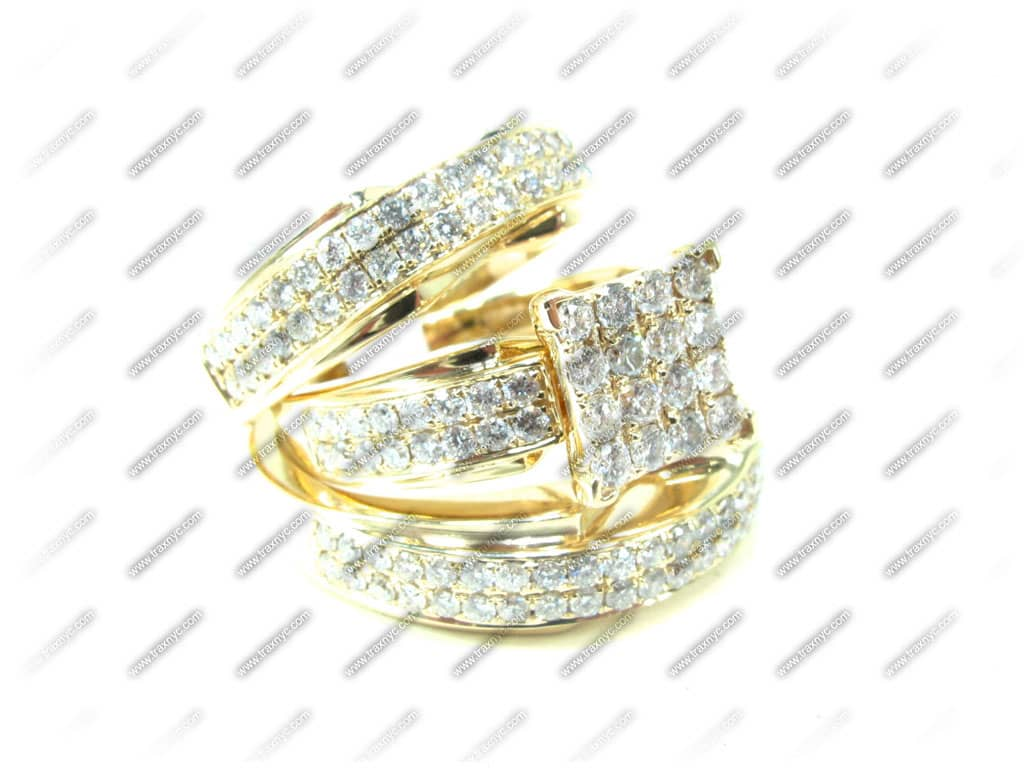Beverly His & Hers Wedding Set 4 La s Diamond Wedding Set Yellow Gold 14k