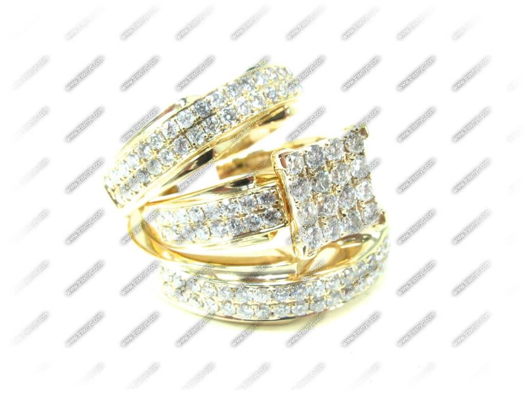 Beverly His & Hers Wedding Set 4 La s Diamond Wedding Set Yellow Gold 14k