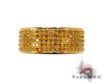 5 Row Canary Diamond Ring Anniversary/Fashion