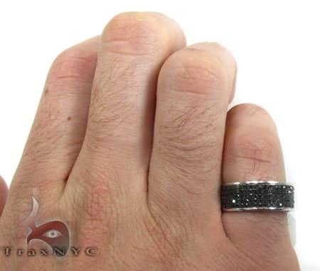 5 Row Black Diamond Ring Stone
