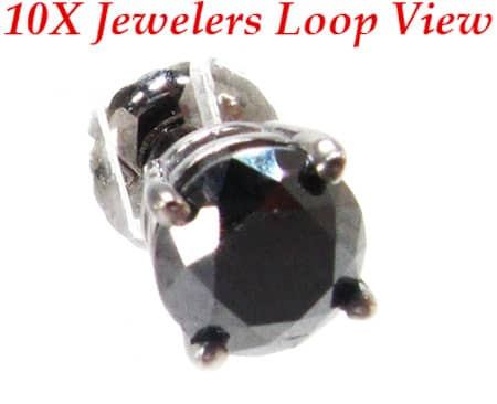 Royal Black Diamond Earrings 2 Stone