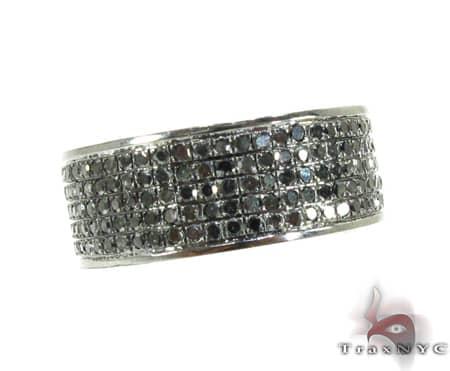 5 Row Black Diamond Ring 2 Stone