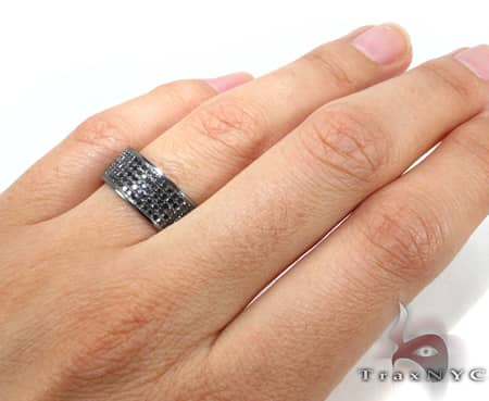 5 Row Black Diamond Ring 2 Stone