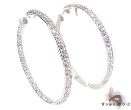 Ladies Joe Rodeo Earring White Gold 14k Round Cut H Color SI 4.50ct
