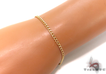 10K Cuban Diamond Cut Bracelet 33033 Gold