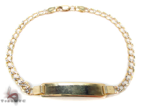 10K Cuban Diamond Cut ID Bracelet 33050 Gold